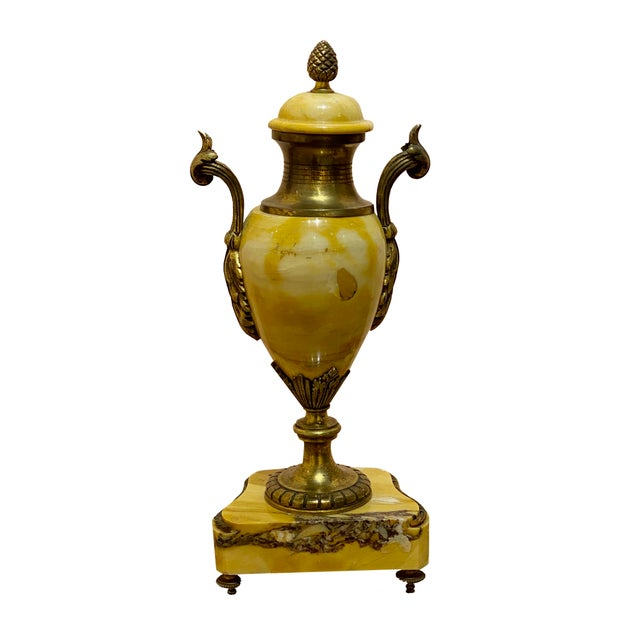 Canary Yellow Antique Louis XVI Style Marble Vase For Sale - Image 8 of 8