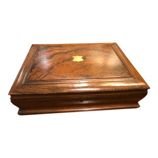 19th Century English Writing Box With Purple Interior For Sale