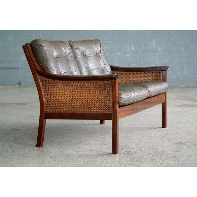 Torbjørn Afdal Torbjørn Afdal Settee in Olive Colored Leather and Woven Cane for Bruksbo, 1960s For Sale - Image 4 of 13