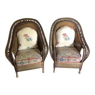 Antique Wicker Chairs - a Pair For Sale