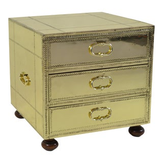 Sarreid Three-Drawer Small Brass Clad Chest