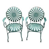 Image of Francois Carre Style French Sunburst Spring Steel Deauville Garden Chairs - A Pair For Sale