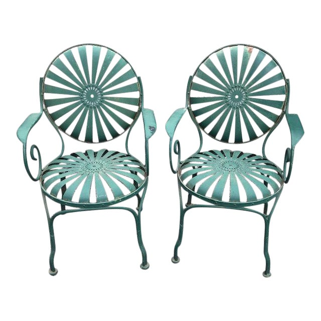 Francois Carre Style French Sunburst Spring Steel Deauville Garden Chairs - A Pair For Sale