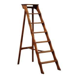 19th Century French Carved Walnut and Iron Folding Library Step Ladder For Sale