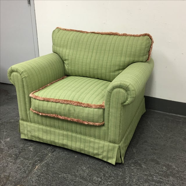 Green Fringed Arm Chair & Ottoman - Image 3 of 9