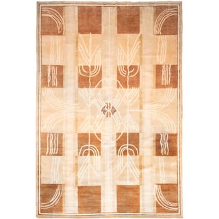 Contemporary Geometric Neutral Checkerboard Wool Rug For Sale