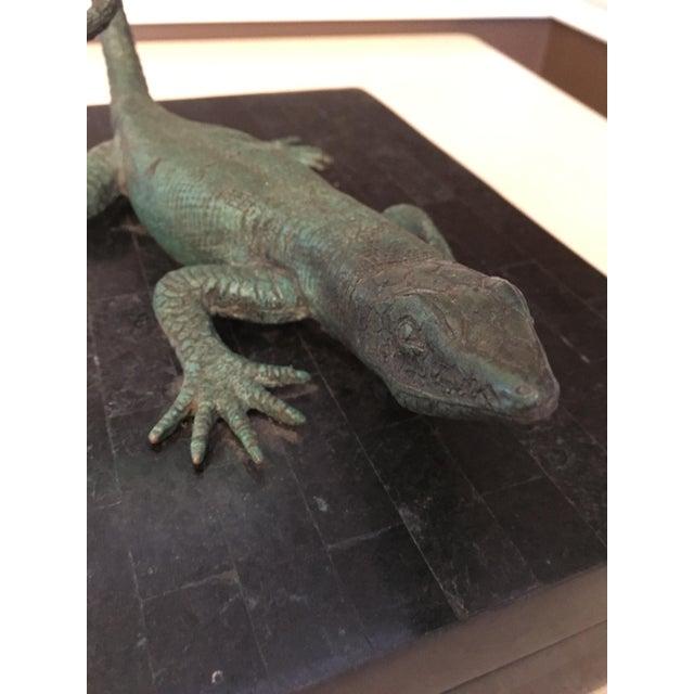 Figurative Maitland-Smith Bronze Lizard Tessellated Box For Sale - Image 3 of 7