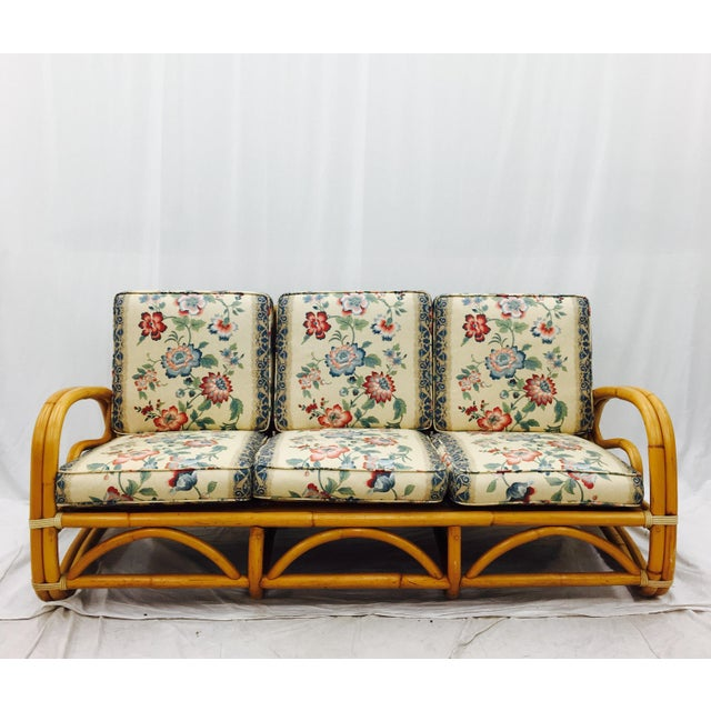 Vintage Mid-Century Rattan Sofa For Sale In Raleigh - Image 6 of 8