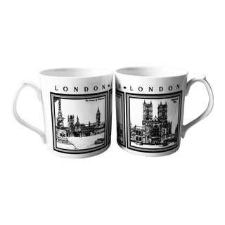 Pair Set of Two (2) Prince George Wales Cambridge Royal Wedding Mugs Black White New For Sale