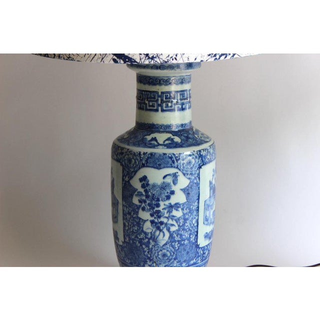 Asian Pair of 19th Century Chinese Blue and White Vase Lamps For Sale - Image 3 of 10