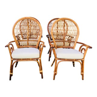 Mid-Century Modern Fan Back Rattan Dining Chairs - Set of 4 For Sale