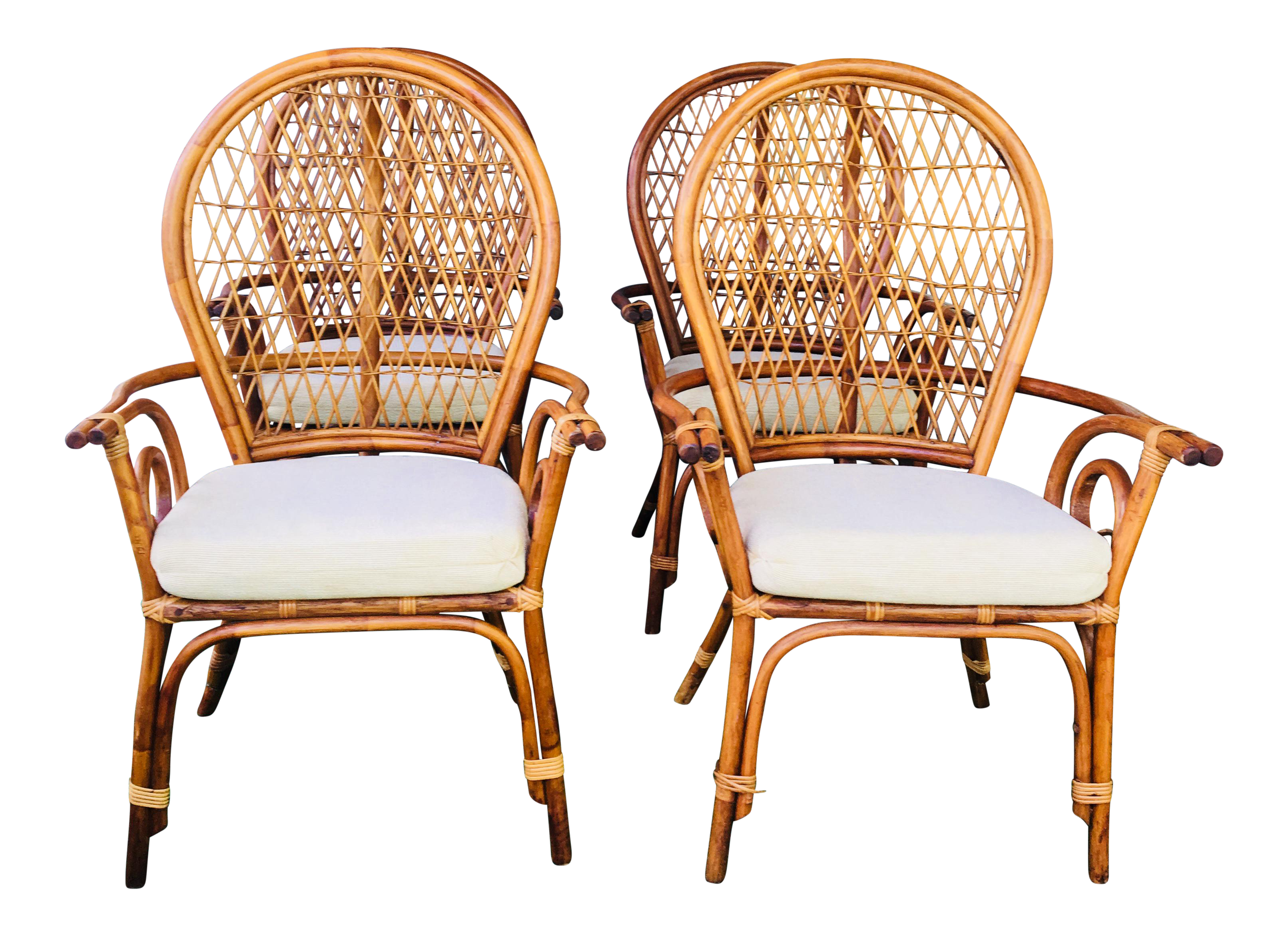 Mid Century Modern Fan Back Rattan Dining Chairs   Set Of 4 For Sale