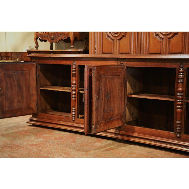 Early 19th Century French Louis XIII Carved Walnut Four-Door Enfilade Buffet For Sale - Image 4 of 13