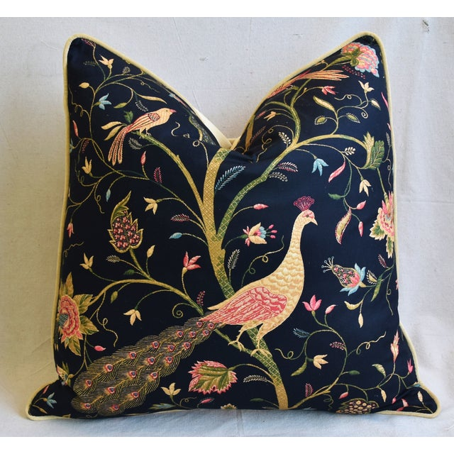 """Chinoiserie Peacock & Floral Asian Feather/Down Pillows 24""""- Pair - Image 5 of 13"""