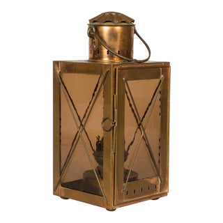 Late 1800s French Copper Lantern Table Lamp For Sale