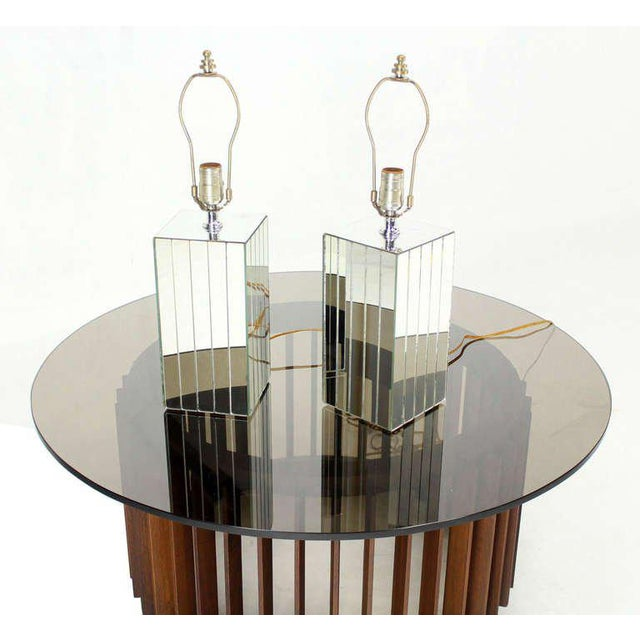 Vintage Mid-Century Mirrored Table Lamps - A Pair For Sale - Image 6 of 8
