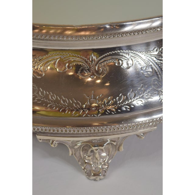 Late 1900's English Silver Plate Engraved Round Mirror Plateau For Sale - Image 6 of 8