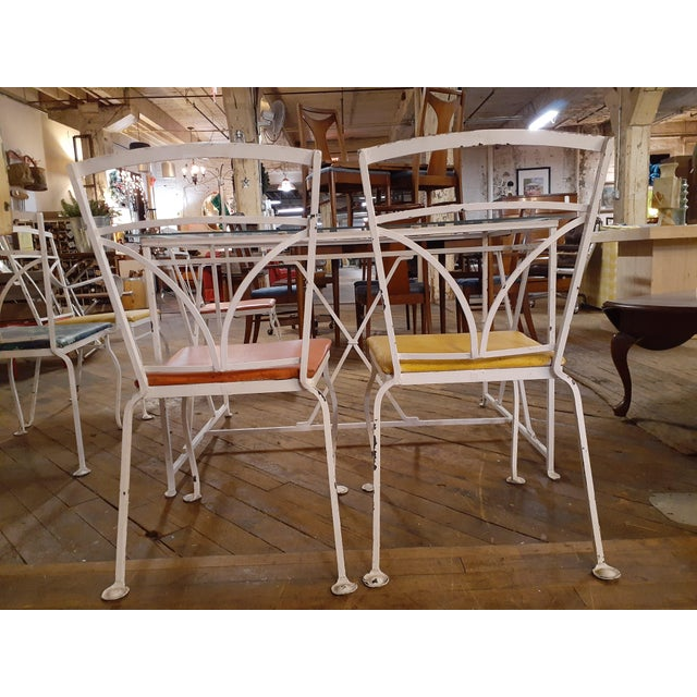 Metal Vintage MCM Salterini Style Seasonal Outdoor Glass Top Table Dining Set - 7 Pieces For Sale - Image 7 of 11
