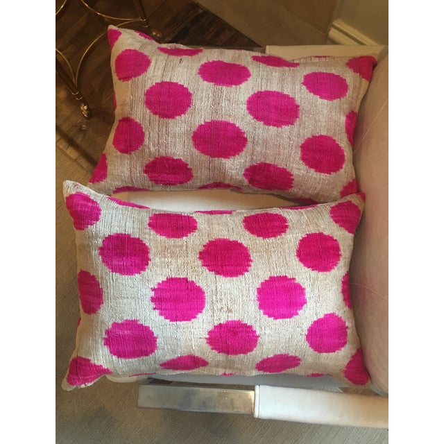 Pink Pink Dots Handmade Pillows - A Pair For Sale - Image 8 of 9