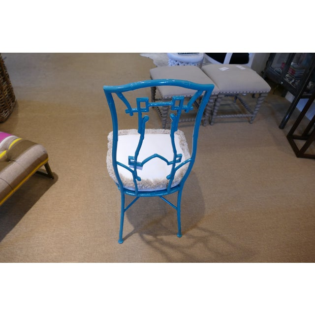 Modern Teal Wrought Iron Outdoor Chair For Sale - Image 4 of 13
