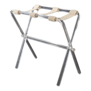 Mid Century Modern Lucite and Macrame Luggage Rack For Sale