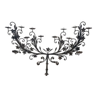 Large 19th Century Wrought Iron Candelabra For Sale