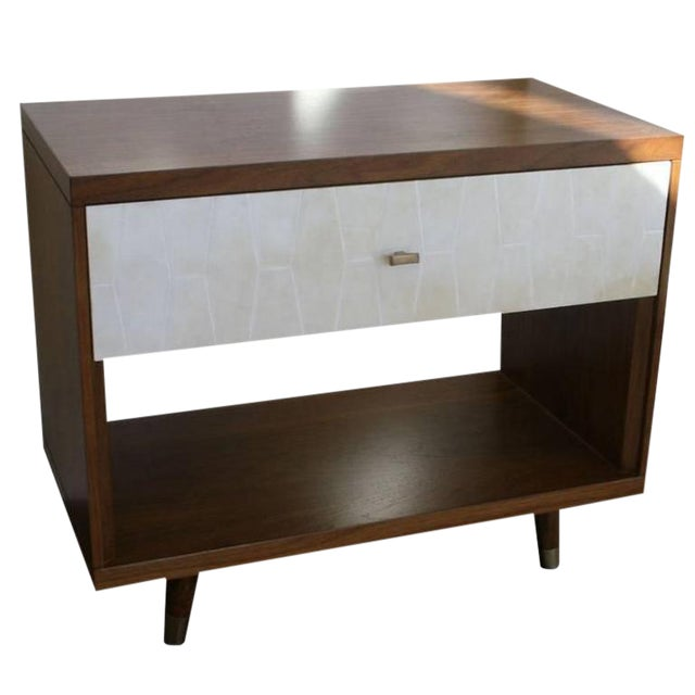 Customizable Francois Walnut and Parchment Nightstands For Sale