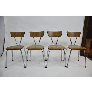 Set of 4 Mid Century Modern Metal Frame and Bent Wood Seat Side/ Dining Chairs Preview