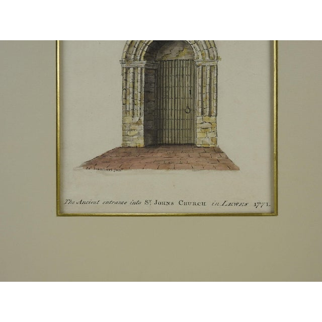 English Traditional Lambert St. Johns Church Watercolor Painting For Sale - Image 3 of 3