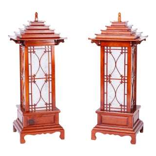 Large Pagoda Table Lamps - A Pair For Sale