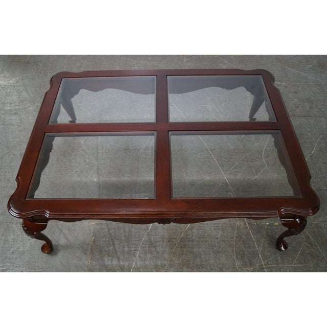 Ethan Allen Georgian Court Cherry Queen Anne Glass Top