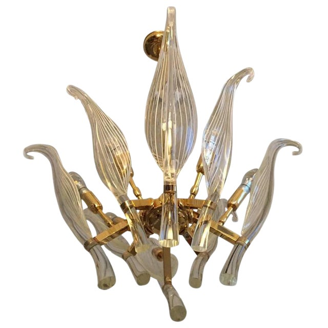 Italian Seguso Murano Glass and Brass Eight-Leaf Cattail Chandelier For Sale