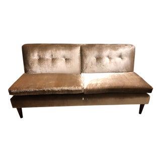 George Smith Velvet Brompton Fixed Back Armless Sofa For Sale
