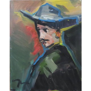 """""""Man in Cowboy Hat"""" Contemporary Portrait Oil Painting by Jose Trujillo For Sale"""