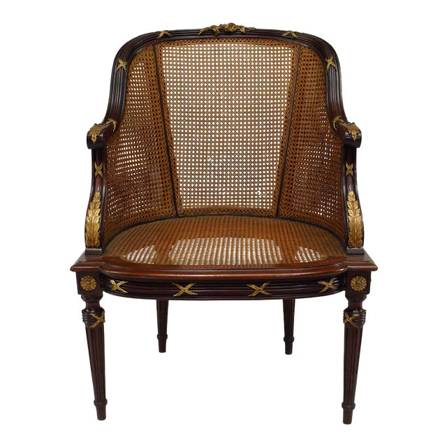 French Louis XVI Style Ormolu-Mounted Mahogany Caned Bergere For Sale