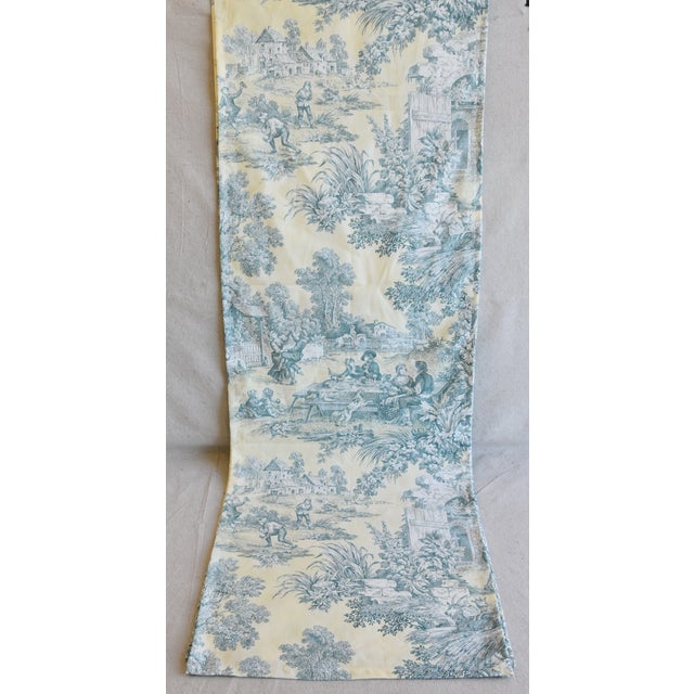 "Custom French Farmhouse Country Toile Table Runner 110"" Long For Sale - Image 4 of 9"