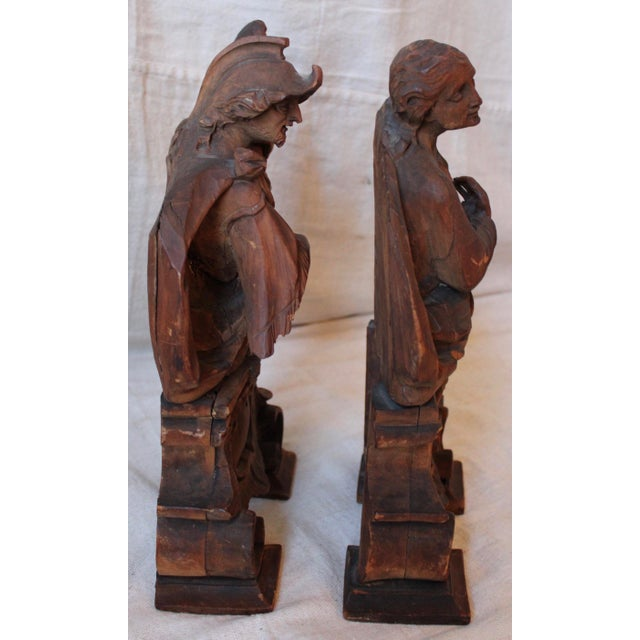 18th C. Wood Figure Carvings - Pair - Image 7 of 10