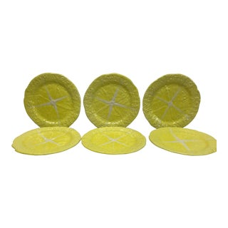 1960s Majolica Secla Yellow Cabbage Leaf Salad Plates - set of 6 For Sale