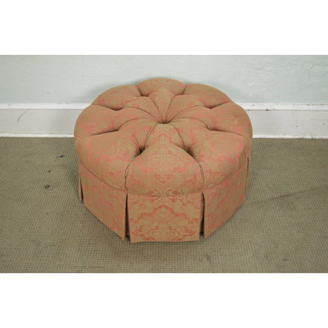Late 20th Century Custom Upholstered Round Tufted Ottoman For Sale - Image 5 of 11