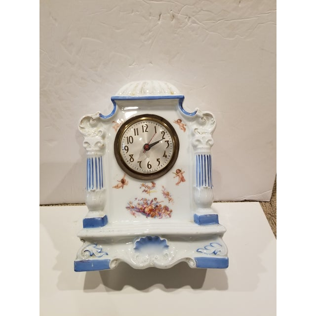 White Decorative Antique Porcelain Clock With Cherubs For Sale - Image 8 of 10