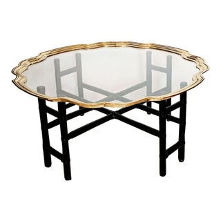 Baker Style Vintage Faux Bamboo and Brass and Glass Coffee Table