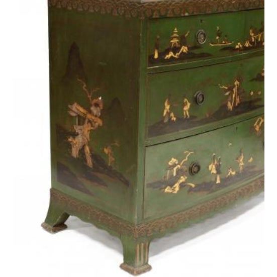 Traditional Chinoiserie Decorated Bow Front Chest of Drawers For Sale - Image 3 of 8