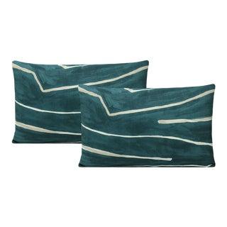 """12"""" X 18"""" Teal + Pearl Graffito Lumbar Pillows - a Pair For Sale"""
