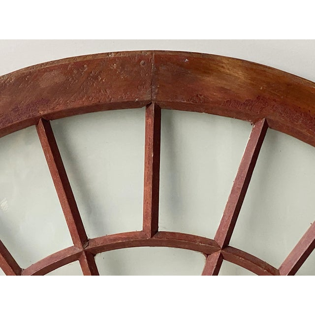 Rustic Half Round Distressed Wood Window For Sale - Image 9 of 12