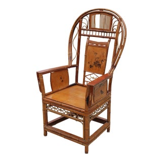 Early 20th Century Antique Chinese Hand Painted Bamboo Bentwood Chair For Sale