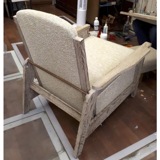 Style of Prouve Cerused Oak Lounge Chairs With Reclining Back For Sale - Image 6 of 7