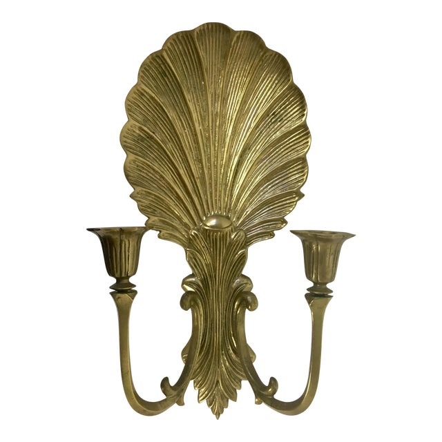 Brass Shell Candle Wall Sconce For Sale