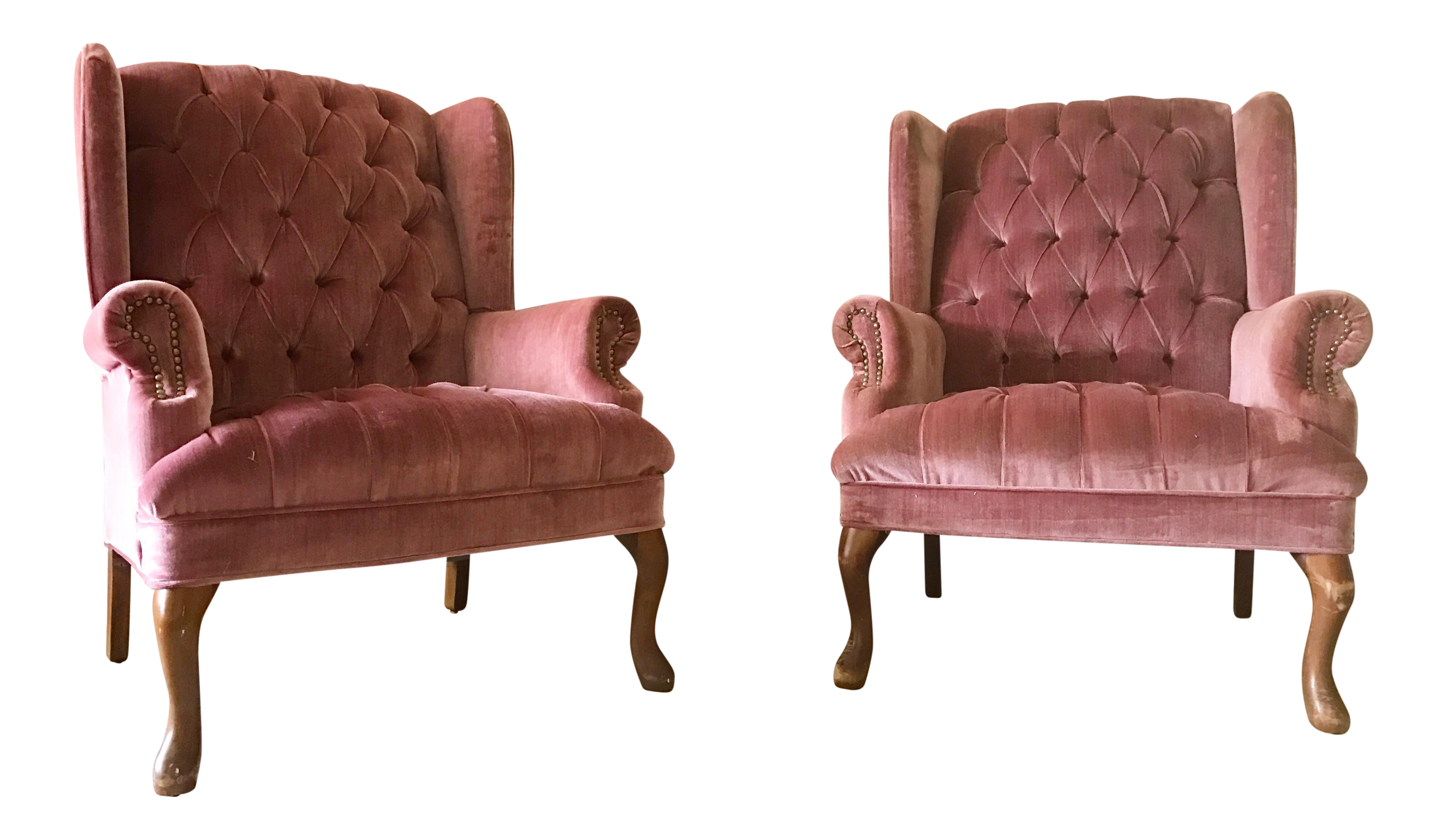 Tufted Dusty Rose Velvet Wingback Lounge Chairs   A Pair