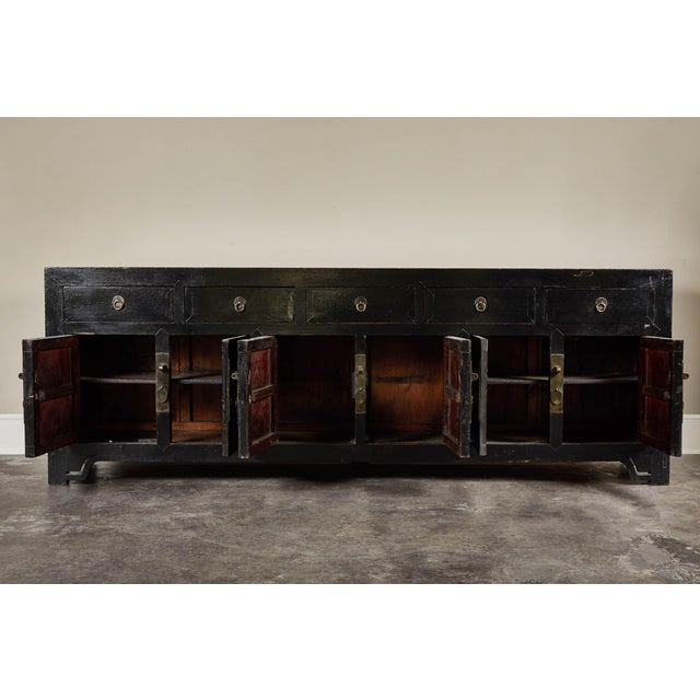 Black 18th C. Chinese Black Lacquer Elm Sideboard For Sale - Image 8 of 10