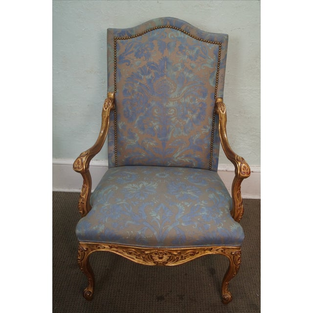 French Louis XV Style Carved Gilt Arm Chairs - A Pair - Image 9 of 10
